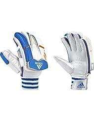 adidas protección de piel oveja diseño Tab guantes de bateo para Cricket Club deportivo, color White/Orange/Blue, tamaño RH Mens