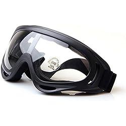 QMFIVE Airsoft X400 A prueba de viento A prueba de polvo Protección Táctica Gafas Gafas de motocicleta Lente transparente para la Ciclismo esquí Tactical al aire libre(Transparente)