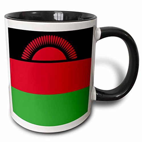 3dRose Flagge Malawi-African Country-Africa rot grün Tricolor Streifen mit Rising Sun-World-Two Ton Tasse, Keramik, Schwarz, 10,2x 7,62x 9,52cm