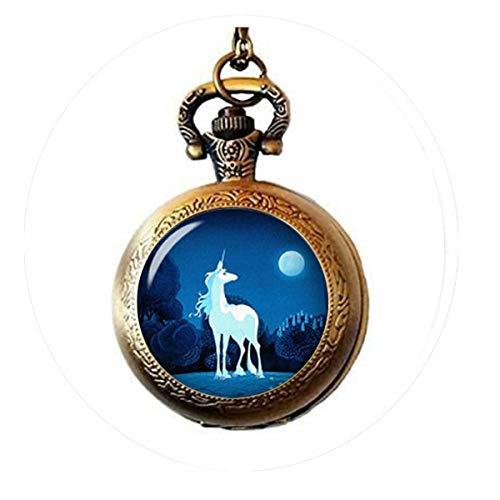 The Last Unicorn Inspirational Quote Always Unicorn Quote Jewelry - Collar con Reloj de Bolsillo de cabujón de Cristal