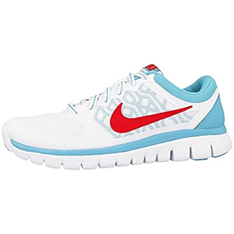 Nike Laufschuhe Flex 2015 Run (GS) Damen white-bright crimson-lakeside (724992-100),