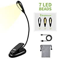 SKYEE LED Reading Light, Portable Book Light 7 LEDs 3 Lighting Modes (Warm, White, Warm&White Light), USB Rechargeable, Eye Care, Music Stand Clip Light for Bed, Book, Laptop and etc
