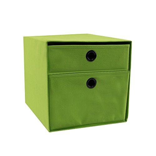 diMio SB2 Regaleinsatz mit 2 Schubladen in Grün / Lime - Regalfach Aufbewahrungsbox Schubladen Faltbox