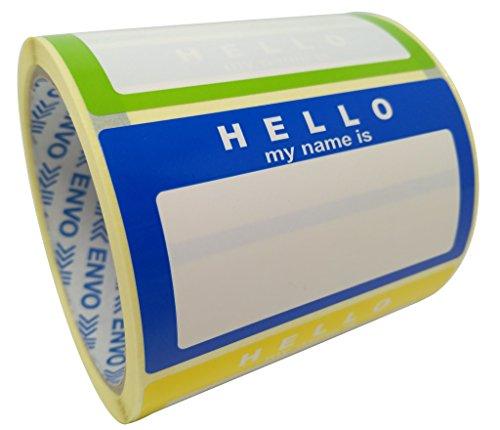 Nombre Colores Etiquetas Hello My Name Is Engomadas 250 Etiquetas/Pack Surtido De Colores (3 colores) Tamaño 90 x 50 mm