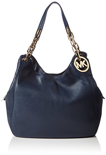 Michael Kors Fulton Large Leather Shoulder Bag 30H3GFTE3L Damen Schultertaschen 32x32x13 cm (B x H x T), Blau (Navy 406)