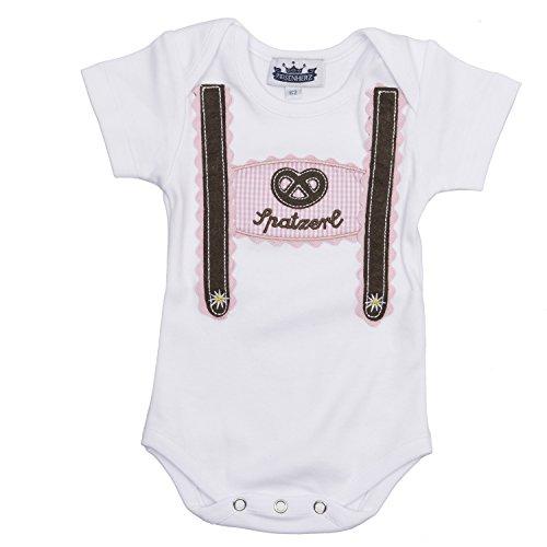 Eisenherz Baby Body Kurzarm rosa Spatzerl und Breze mit Hosenträger Applikation Größe 74