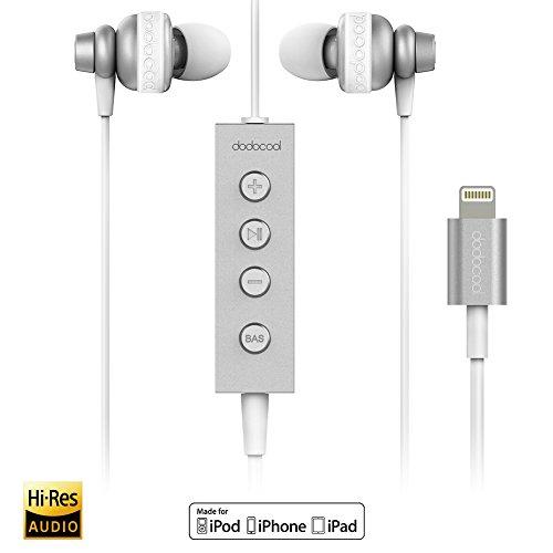 dodocool Auricolari Hi-Res In-Ear con Connettore Lightning Certificato MFi Riduzione del Rumore con Microfono ad Alta Risoluzione Audio a 24 bit per iPhone 7/7plus,iPhone 6/6s plus,iPhone 5/5s,iPod,iPad