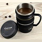 BonZeaL Camera Lens Mug Stainless Steel Coffee Mugs Tea Cups Birthday Gift