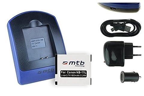 Batterie + Chargeur (USB/Auto/Secteur) NB-11L pour Canon Ixus 125 HS,