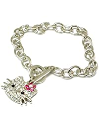 FJ201 - The Olivia Collection Bracelet Kitty Argenté Serti de Strass avec Fermeture en T