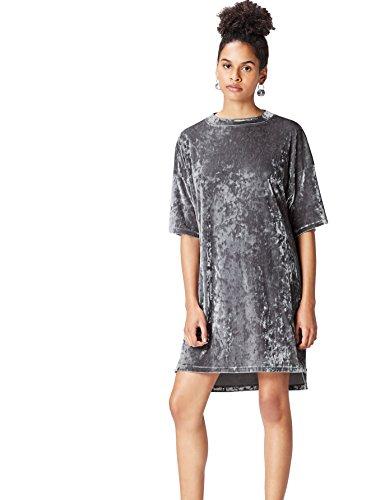 FIND Damen Partykleid mit Knittersamt Silber (Silver), 42 (Herstellergröße: X-Large)