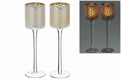 Gold Votiv-kerze (Windlicht auf Sockel 2 tlg Glas Klar Gold lackiert Filigrane Teelicht oder Votiv Kerze)