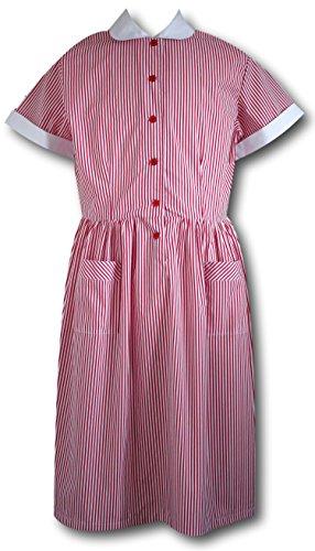 Damen Schule Uniform Sommer Kleid in rot Candy Stripe, A-Linie, Rot, red candy dress 46 (School Disco Fancy Dress Kostüm)