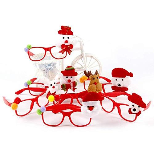 Aeromdale Kinder Weihnachten Kunststoff Brillengestell Cartoon Glitter Antler Applique Party Brille mit LED Blinken, 5er Pack