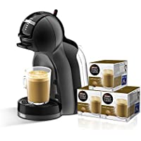 Pack De'Longhi Dolce Gusto Mini Me EDG305.BG - Cafetera de cápsulas, 15 bares de presión, color negro y gris + 3 packs de café Dolce Gusto Con Leche