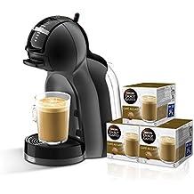 Pack DeLonghi Dolce Gusto Mini Me EDG 305 BG - Cafetera automática, color negro y gris + 3 packs de café Dolce Gusto Con Leche