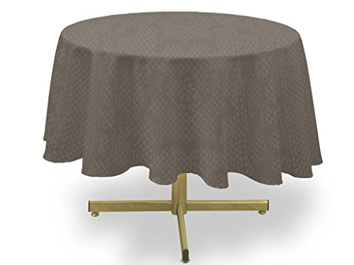 Soleil d'ocre Nappe Anti-tâches Ronde 180 cm Snake Taupe, Polyester, Ecru, Diamètre