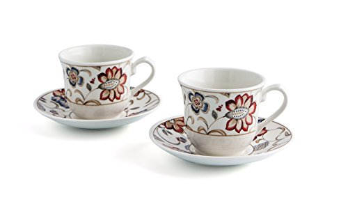Bidasoa Jacobean Churchill - Estuche de 2 tazas con platillo, 20 cl, multicolor