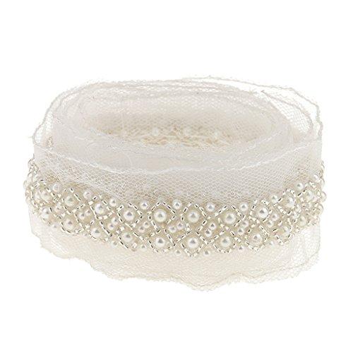 MagiDeal 97cm Perlen Nähen Mesh Band Kleid Dekor Handwerk Weiß / Schwarz - Weiß, one size (Kleider Weiße Perlen)
