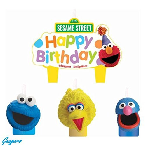 Sesame Street Elmo Birthday Candle Set Cake Toppers Decorations 4pc Party (Street Sesame Supplies Birthday Party)