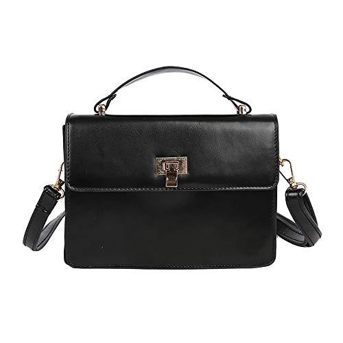 LHWY Taschen Damen Frauen Kleine Tasche Umhängetasche Wild Retro Casual Messenger Bag Pu Leder Henkeltaschen Mode Schultertaschen Mädchen (19cm(L) x6cm(W) x14cm(H), Black)