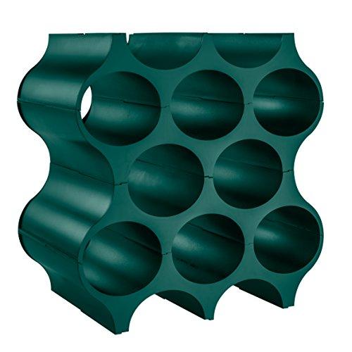 Koziol Flaschenregal Set-UP für 8 Flaschen, Kunststoff, Flaschenregal für Wein-/Sekt-/Wasserflaschen, Wabenform, kombinierbar, grün