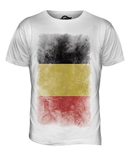 CandyMix Belgien Verblichen Flagge Herren T Shirt Weiß