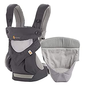 Ergobaby Baby Carrier for Newborn to Toddler with Infant Insert, 360 Carbon Grey 4-Position Ergonomic Child Carrier   3