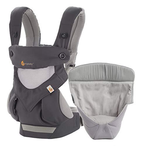 Ergobaby Babytrage 360 Cool Air Carbon Grey inkl. Neugeboreneneinsatz, 4in1 Baby Tragehilfe Rückentrage Bauchtrage - Sonnenschutz-bundle