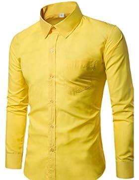 CHENGYANG Uomo Slim Fit Camicia Manica Lunga Casual Camicie Camicetta Business Tinta Unita Shirts