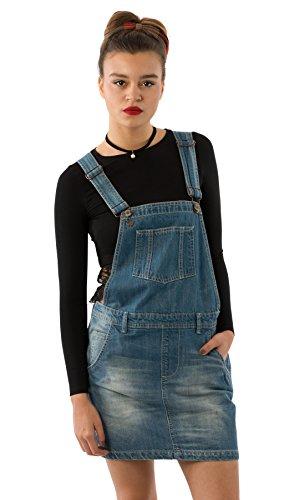 USKEES CLAIRE Kurze Latz Kleid - Denim Light Wash Loose Fit Latzhosenkleid Mode EU Gr. 40 Blau