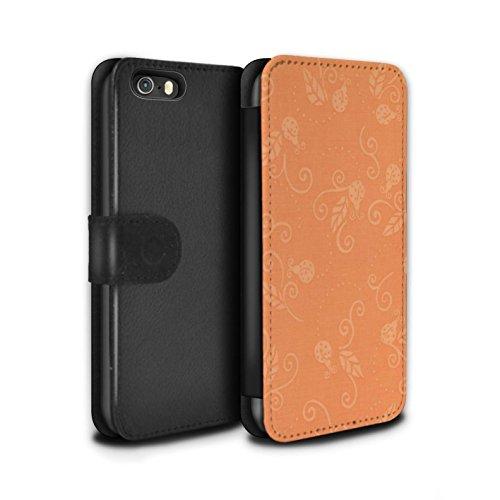 STUFF4 PU-Leder Hülle/Case/Tasche/Cover für Apple iPhone SE / Grau Muster / Marienkäfer-Muster Kollektion Pfirsich