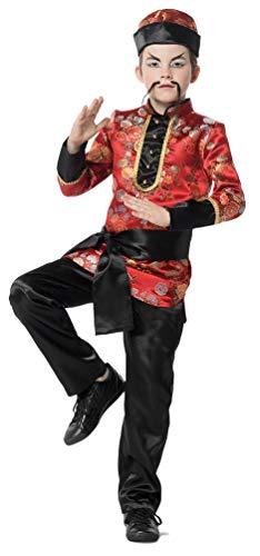 Karneval-Klamotten China Kostüm Kinder Chinesen Kostüm Kinder Jungen rot schwarz Größe 128 (China Kostüm Kinder)