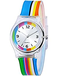 KKwell Lovely Children's Watch Color Pattern 3D Quartz Watch Cartoon Students Watches(Rainbow)