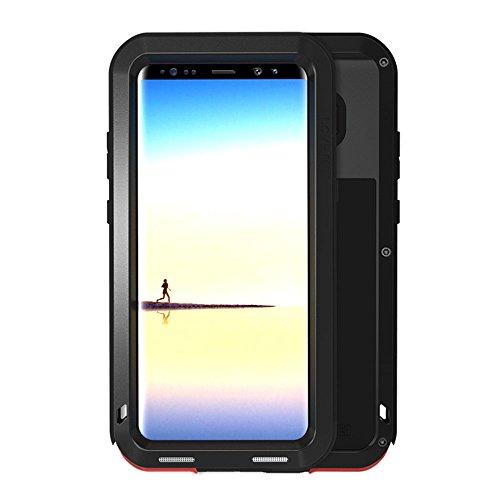 Galaxy Note 8 Hülle, Love mei Mächtig Leistungsstarke Schwerlast Hybride Aluminium Metall Rüstung Stoßfest Schneesicher Schmutzabweisend Staubdicht Case für Samsung Galaxy Note 8 (Schwarz) (Galaxy Note 4 Fällen-gorilla-glas)