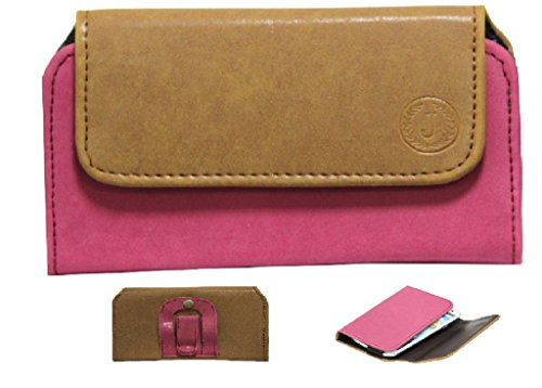 Jo Jo A4 Nillofer Belt Case Mobile Leather Carry Pouch Holder Cover Clip For Panasonic P55 Tan Pink
