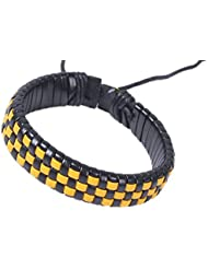 &ZHOU pulseras,3 PC, patrón de cuadrícula pulseras tejidas a mano , yellow