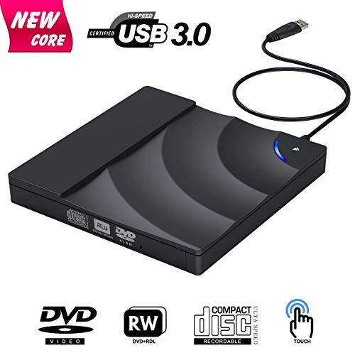 LHXHL 3.0 Tragbarer DVD/CD-Brenner Externes CD-Laufwerk USB Touch Control Unterstützung Windows 10 8. Juli/XP / Mac OS (Plug & Play)
