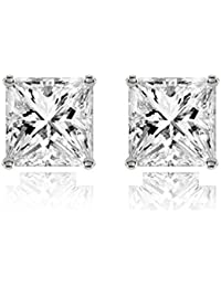 The Jewelbox Silver Metal Cubic Zirconia American Diamond With 316L Stainless Steel Ear Studs For Women Gift