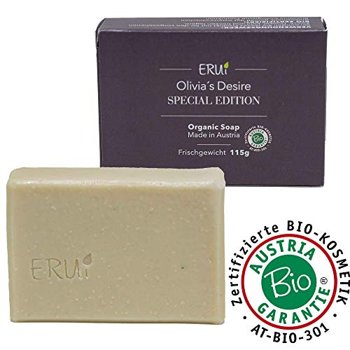 *NEU* ERUi® Nachhaltige Bio Olivenöl-Seife - Speziell für Körper und Haare - Handgemachte Oliven-Seife - 100% Natürliche Natur-Seife frei von Plastik, Palmöl und vegan (1 x 115g) -