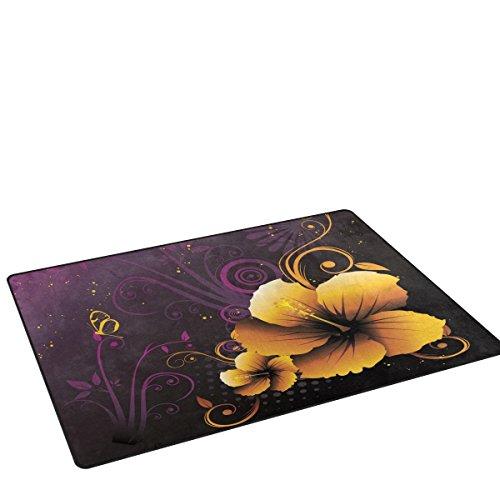 bennigiry Schmetterling Blumen rutschfeste Bereich Teppich Pad Teppichunterlage für harte Böden, rutschfeste Teppich Matte Teppich Untergrund für Wohnzimmer Schlafzimmer 152x 99cm (152,4x 99,1cm)