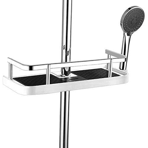 Wangel Hängendes Duschregal für Duschstange, Badregale, Regalschublade mit Schiene, ohne Bohren, Kunststoff und Aluminium
