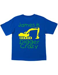 PERSONALISED DIGGER CRAZY WITH NAME' Boy's T-shirt with Yellow and Green print (PLEASE INPUT NAME AND SAVE IN GIFT OPTION SECTION JUST BEFORE CHECKOUT)