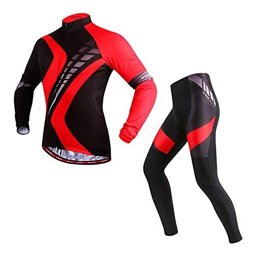 ROOKLY Herren-Radtrikot-Anzug Langarm-Rennrad-Trikot Fahrrad-Set Strumpfhose Mit Gepolstert