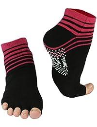 Lot de 2 paires de chaussettes orteils, des rayures colorées, revêtement anti-dérapant, les orteils ouverts, l'origine de Vincent Creation®