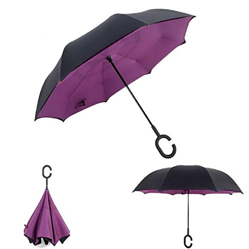 Autonorth Double Layer Reverse Outdoor Stick Umbrella Windproof Waterproof and Self Standing Inside Out Umbrella Best for Travelling and Car Using Color Purple
