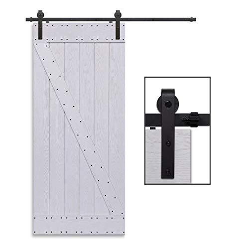 CCJH 10FT-304cm Quincaillerie Kit de Rail Roulettes pour Porte Coulissante Hardware pour une Porte Suspendue en Bois Sliding Barn Door Hardware Flat Shaped
