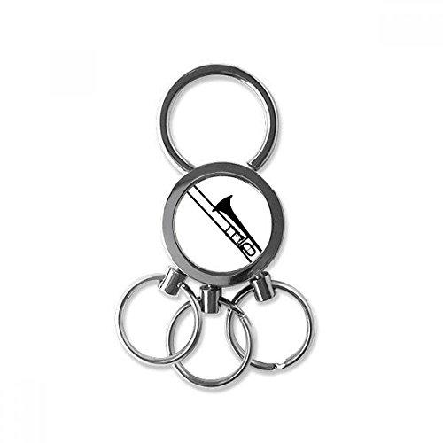 DIYthinker Posaune Klassische Musik-Instrument-Muster Edelstahl-Metall Schlüsselanhänger Ring-Auto Keychain Keyring Clip Geschenk