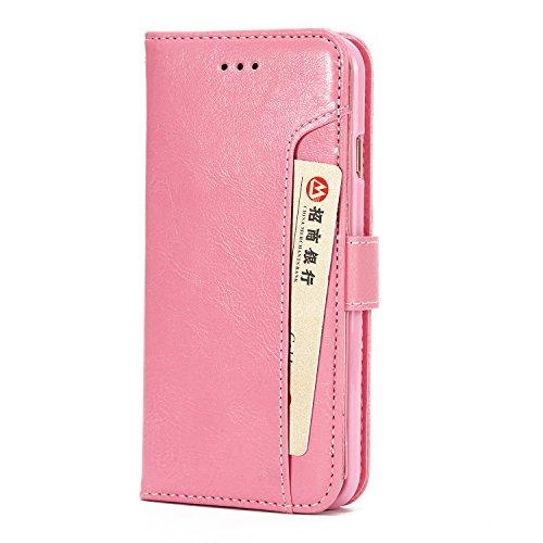 iPhone 7 Plus Hülle Leder, E-Lush Premium PU Leder Tasche für iphone 7 8 Plus(5.5 Zoll ), Einfach Einfarbig Muster Klapphülle 360 Full Body Protection Flip Case Wallet Cover Weiche Flexible TPU Soft R Hell-Pink