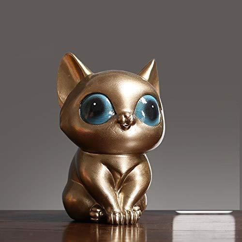 Hacpigbb Estatuas Mini Ojo Grande Gato Resina Escultura